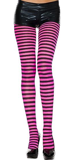 f9c66243fd0ec Amazon.com: Black/Hot Pink, Queen/Plus Size Fun Striped Opaque ...