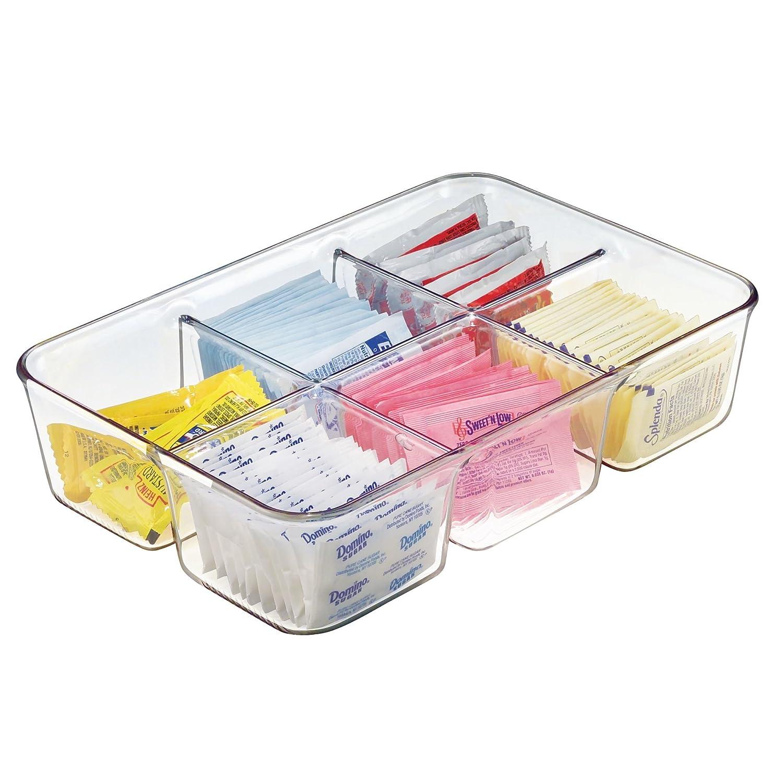 mDesign Coffee Condiment Packet Organizer for Sugar, Salt, Sweeteners, Tea Bags, Creamers - Clear MetroDecor 2425MDK