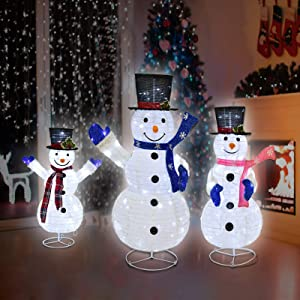 Set of 3 Holiday Snowman Family Lawn Decoration with Clear LED Lights, Waterproof Collapsible Christmas Snowman, Christmas Decorations for Indoor Outdoor, Yard, Lawn (47.2in+35.4in+23.6in)