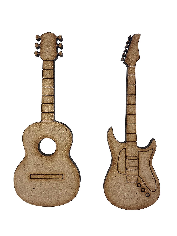 8 x eléctrica acústica guitarras 7 cm madera Craft Embelishments ...