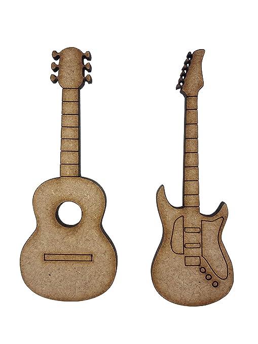 8 x eléctrica acústica guitarras 7 cm madera Craft Embelishments Laser Cut forma MDF
