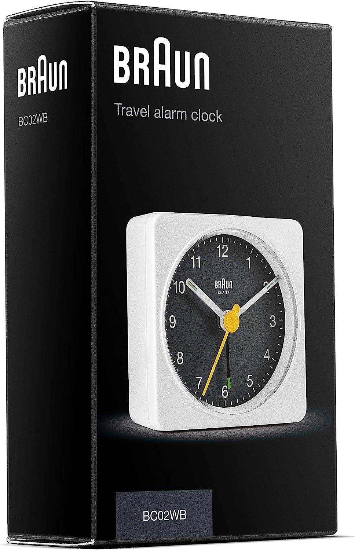 Braun Classic Travel Analogue Alarm Clock with Snooze and Light model BC02XWB. Quiet Quartz Movement Crescendo Beep Alarm in White and Black Compact Size