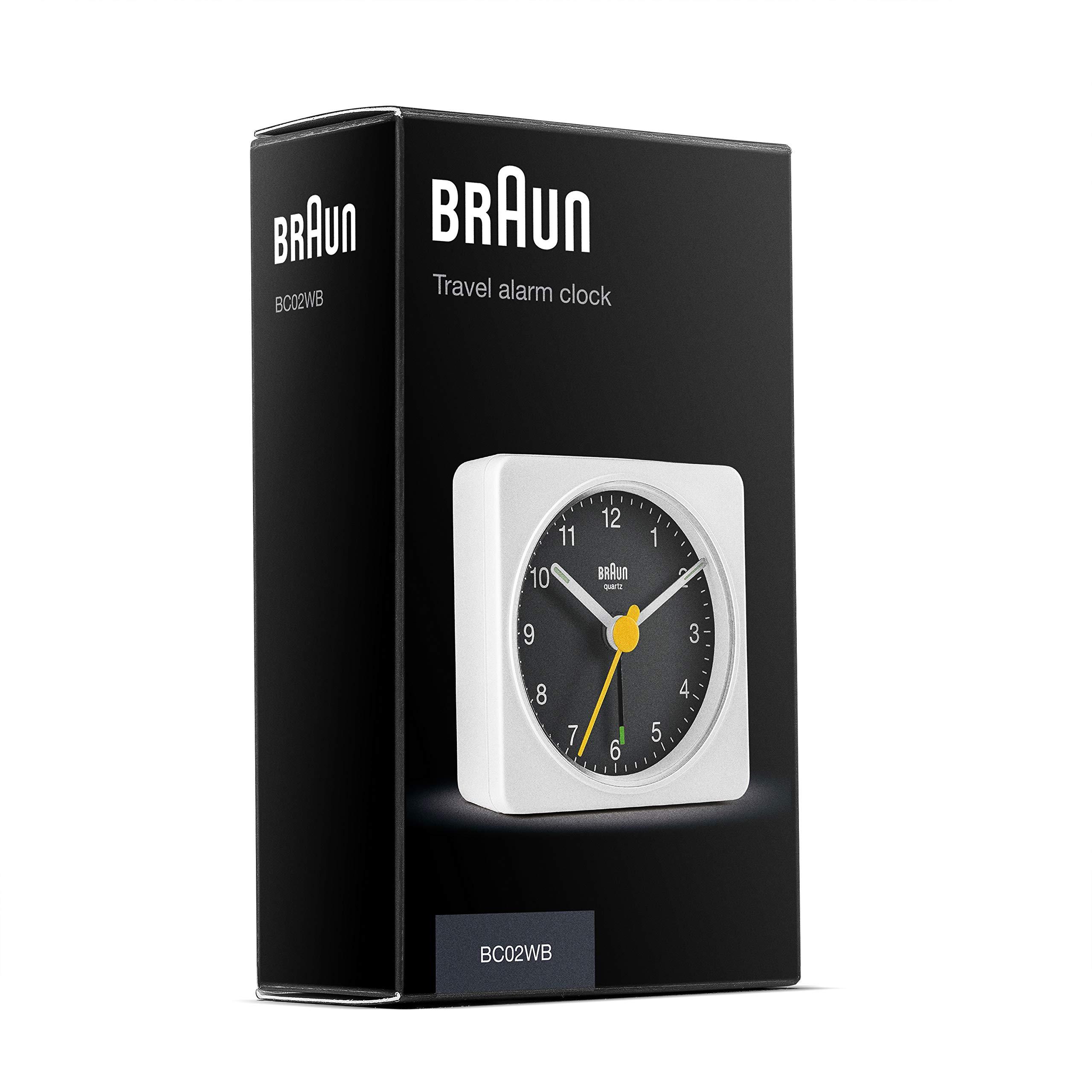 Braun Classic Travel Analogue Clock Compact Size Quiet Quartz Movement Model BC02WB Crescendo Beep Alarm in White and Black