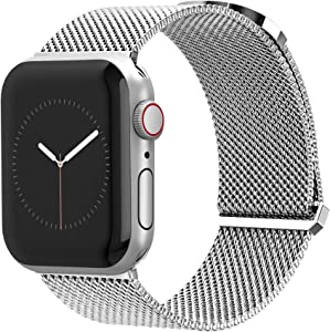 Compatible for Apple Watch Band 42mm / 44mm by TalkWorks - Comfort Fit Mesh Loop Stainless Steel Adjustable Magnetic Strap for iWatch Series 4, 3, 2, 1 - Silver