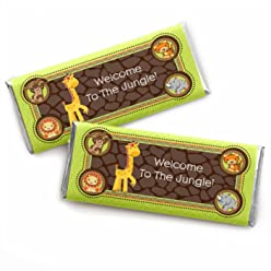 Funfari - Fun Safari Jungle - Candy Bar Wrappers Baby Shower or Birthday Party Favors - Set of 24