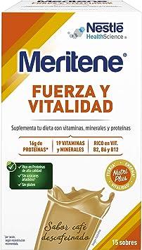 Meritene® FUERZA Y VITALIDAD - Suplementa tu nutrición y mantén tu sistema inmune con vitaminas, minerales y proteínas - Batido de Café descafeinado - ...