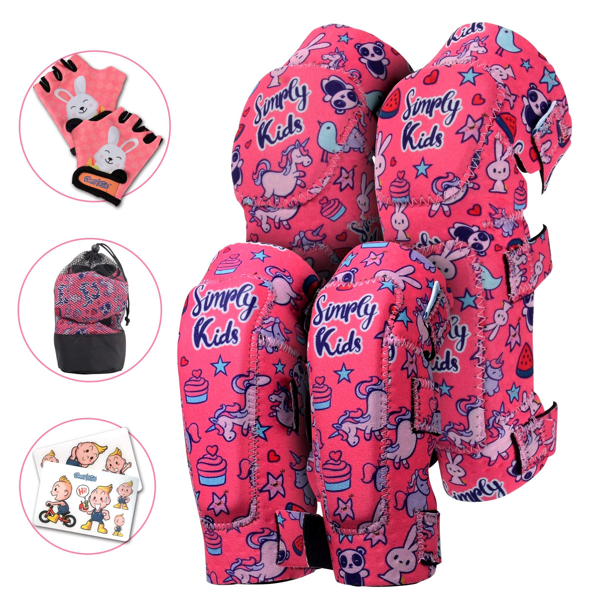 Innovative Soft Kids Knee and Elbow Pads with Bike Gloves | Toddler Protective Gear Set w/Mesh Bag | Comfortable& Flexible | Skateboard for Children Boys Girls ((2nd Gen) Unicorn, Small (2-4 Years))