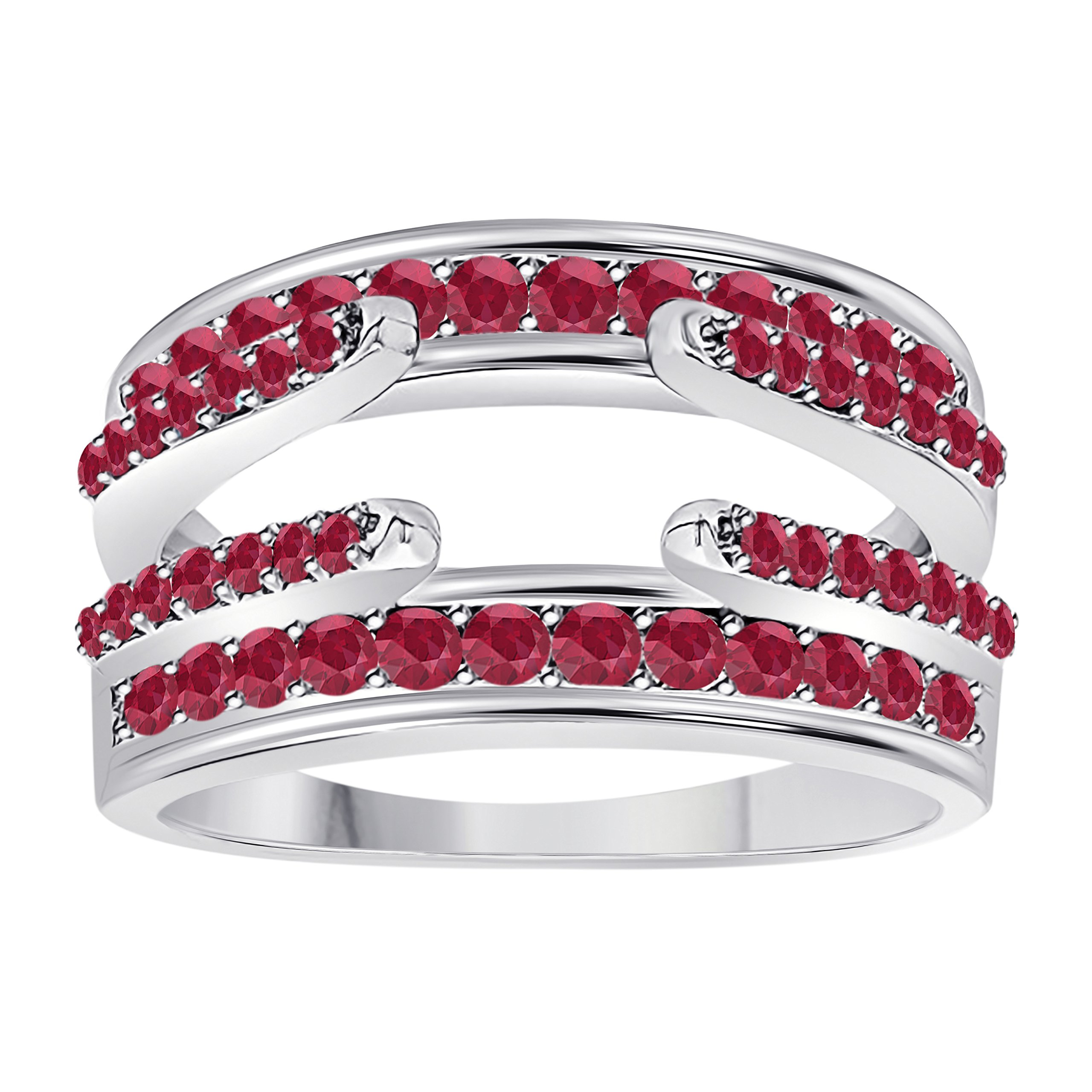 DreamJewels .925 Sterling Silver Combination Curved Style Cathedral Wedding Ring Guard Enhancer with CZ Red Ruby (1.10 ct. tw.)