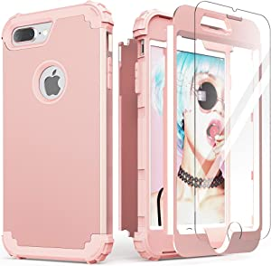 iPhone 8 Plus Case, iPhone 7 Plus Case with Tempered Glass Screen Protector, IDweel 3 in 1 Shockproof Slim Hybrid Heavy Duty Hard PC Cover Soft Silicone Rugged Bumper Full Body Case, Rose Gold