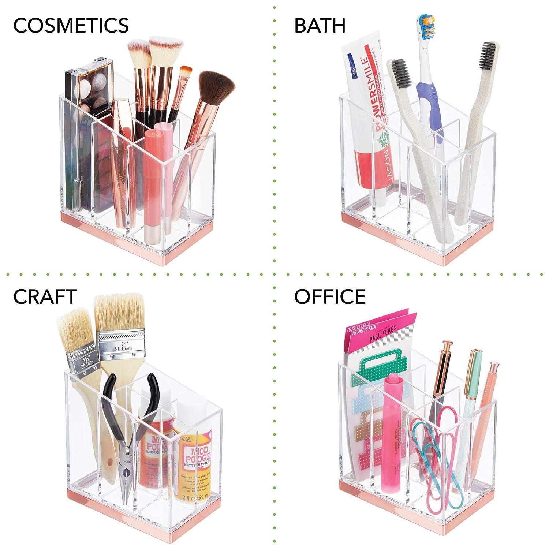 mDesign Pr/áctico organizador de maquillaje Expositor de maquillaje con 5 compartimentos transparente//dorado lat/ón Decorativa caja para guardar cosm/éticos como esmaltes de u/ñas o polveras