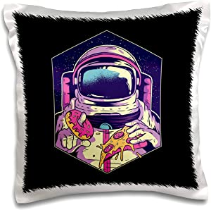 3dRose Sven Herkenrath Fantasy - Illustration Design with Astronaut and Pizza Food Sweet - 16x16 inch Pillow Case (pc_306912_1)