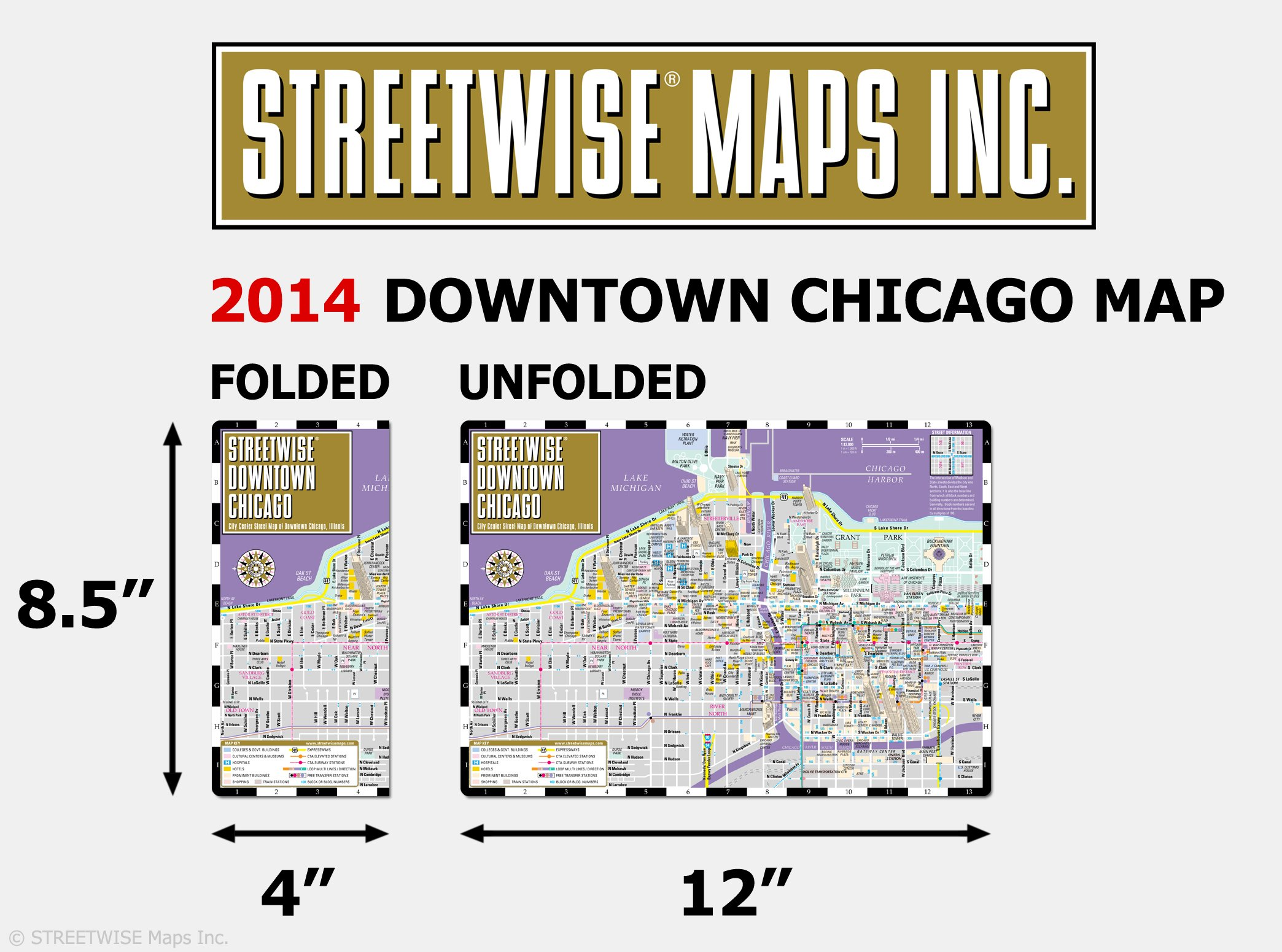 Streetwise Downtown Chicago Map Laminated Street Map Of Downtown - Chicago map amazon