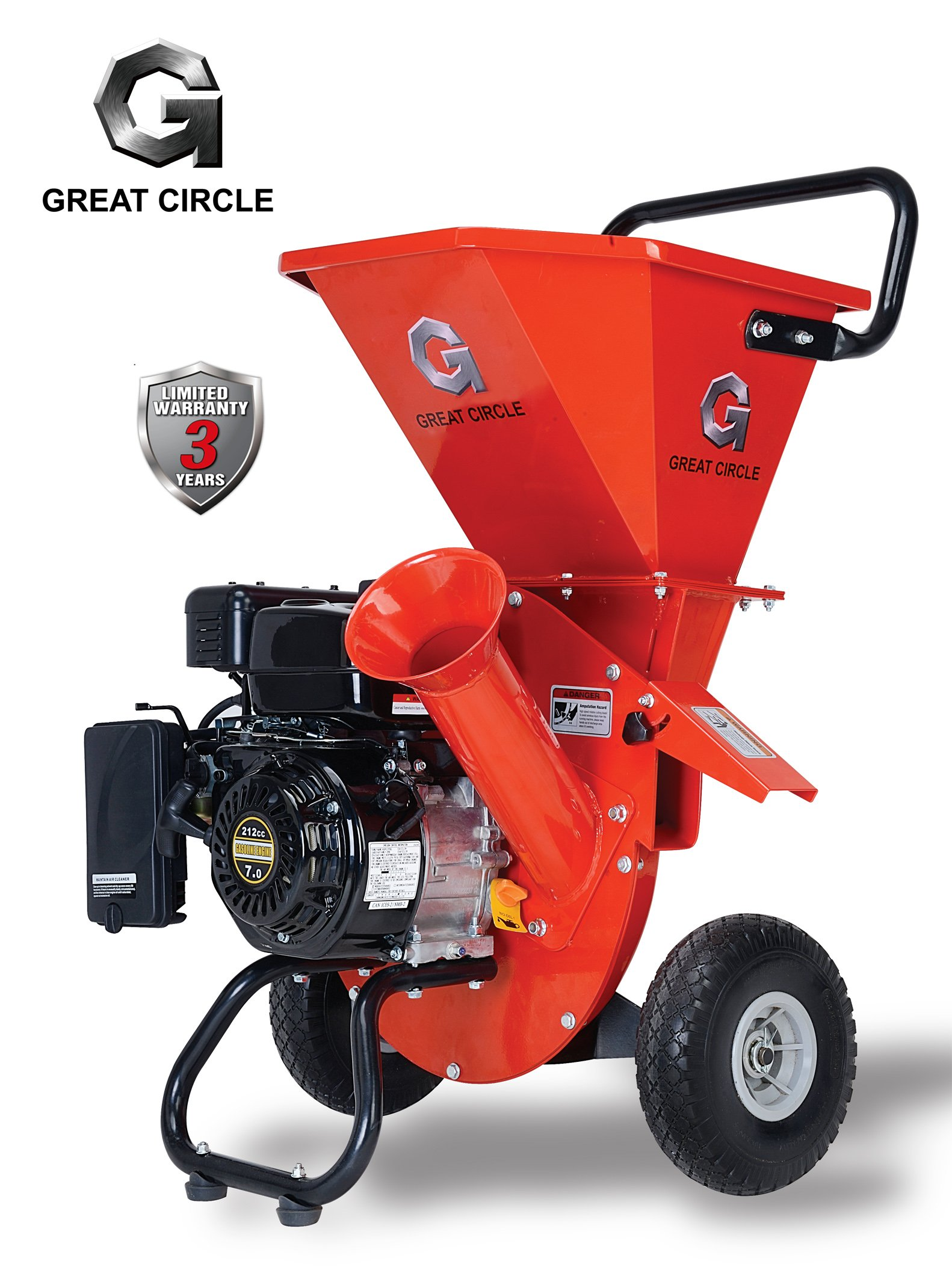 GreatCircleUSA 7HP Heavy Duty 212cc Gas Powered 3 IN 1 Multi-Function Pro Wood Chipper Shredder for Lawn and Garden Outdoor with 3'' max Wood Diameter Capacity, 3 Years Warranty
