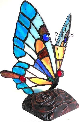 Chloe CH10808BA09-NL1 9 Tall Kacy 5 Tiffany-Style 1 Light Butterfly Accent Table Lamp, 9.25 x 8.75 x 8.75, Bronze