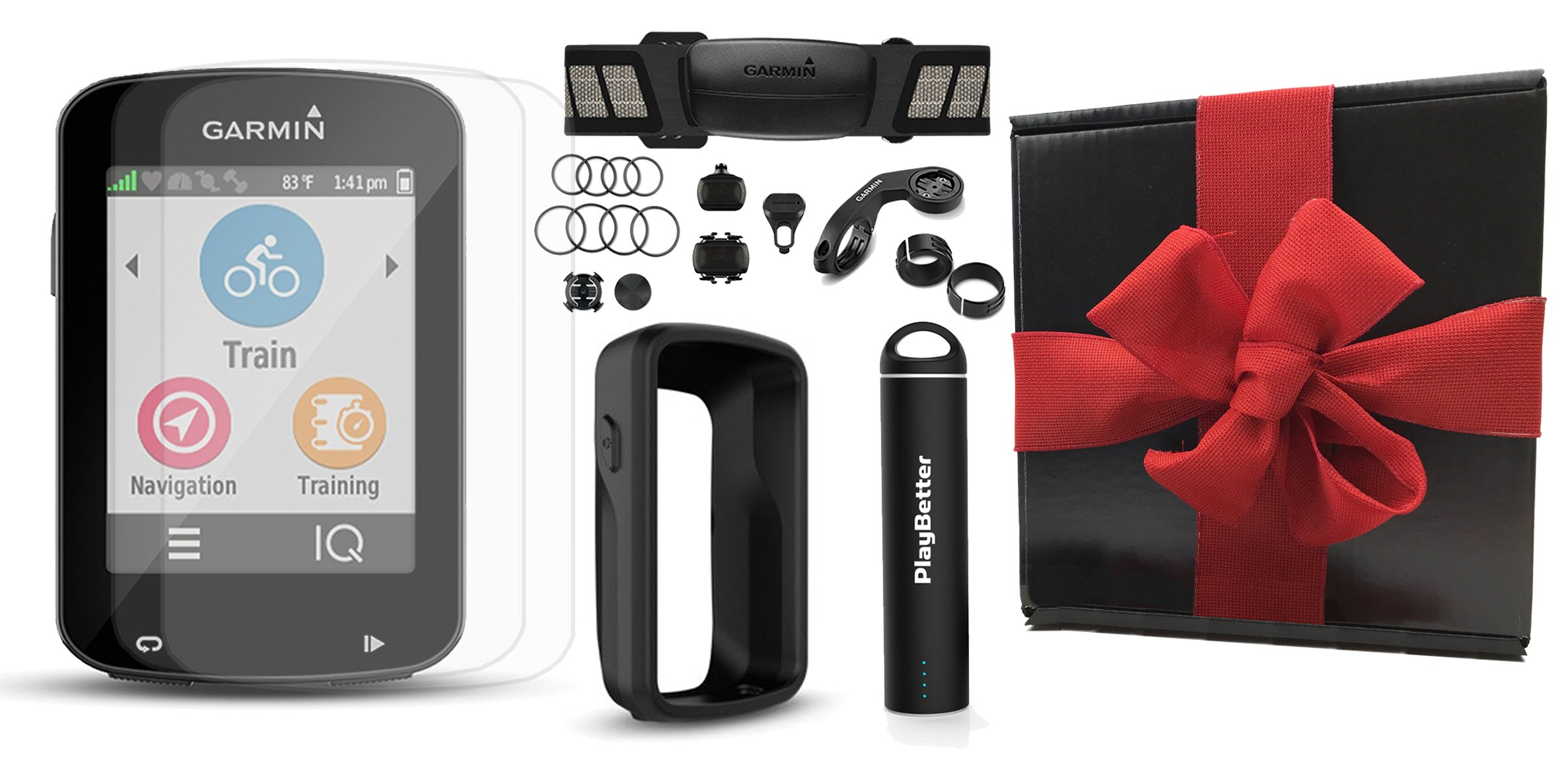 Garmin Edge 820 Gift Box Bundle with PlayBetter Silicone Protective Case, HD Glass Screen Protectors (2-Pack), Portable Charger, Bike Mounts | GPS Cycle Computer (Black Case, Bundle w/ HRM & Sensors)