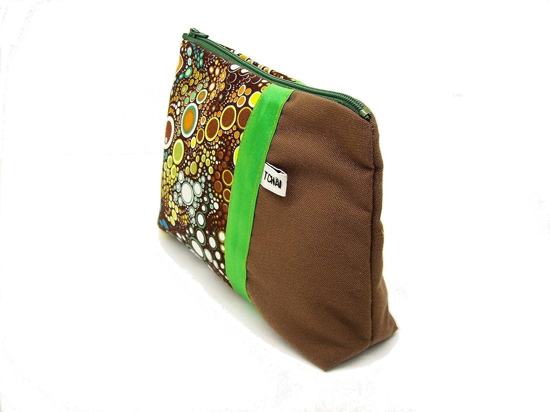 pochette marron et verte a motifs bulles , trousse maquillage et toile et tissu effervescence , fourre tout femme