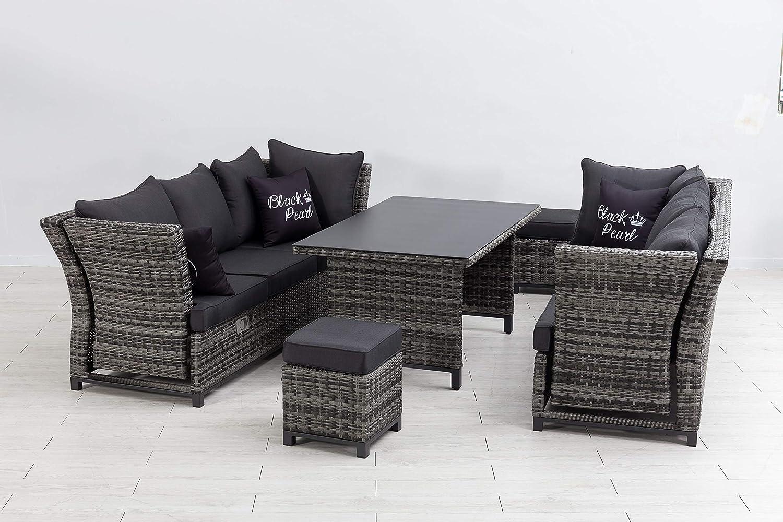 Mandalika Garden Hohe 3 in 1 Dining Poly Rattan Lounge Santa Cruz Deluxe Black Pearl Sofa, mit verstellbaren Armlehnen, flexibel einsetzbar