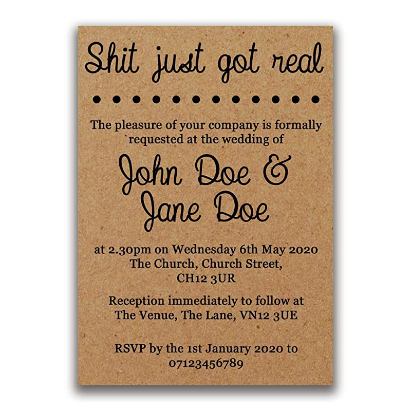 Wedding Card Hashtag Shit just got real Funny card