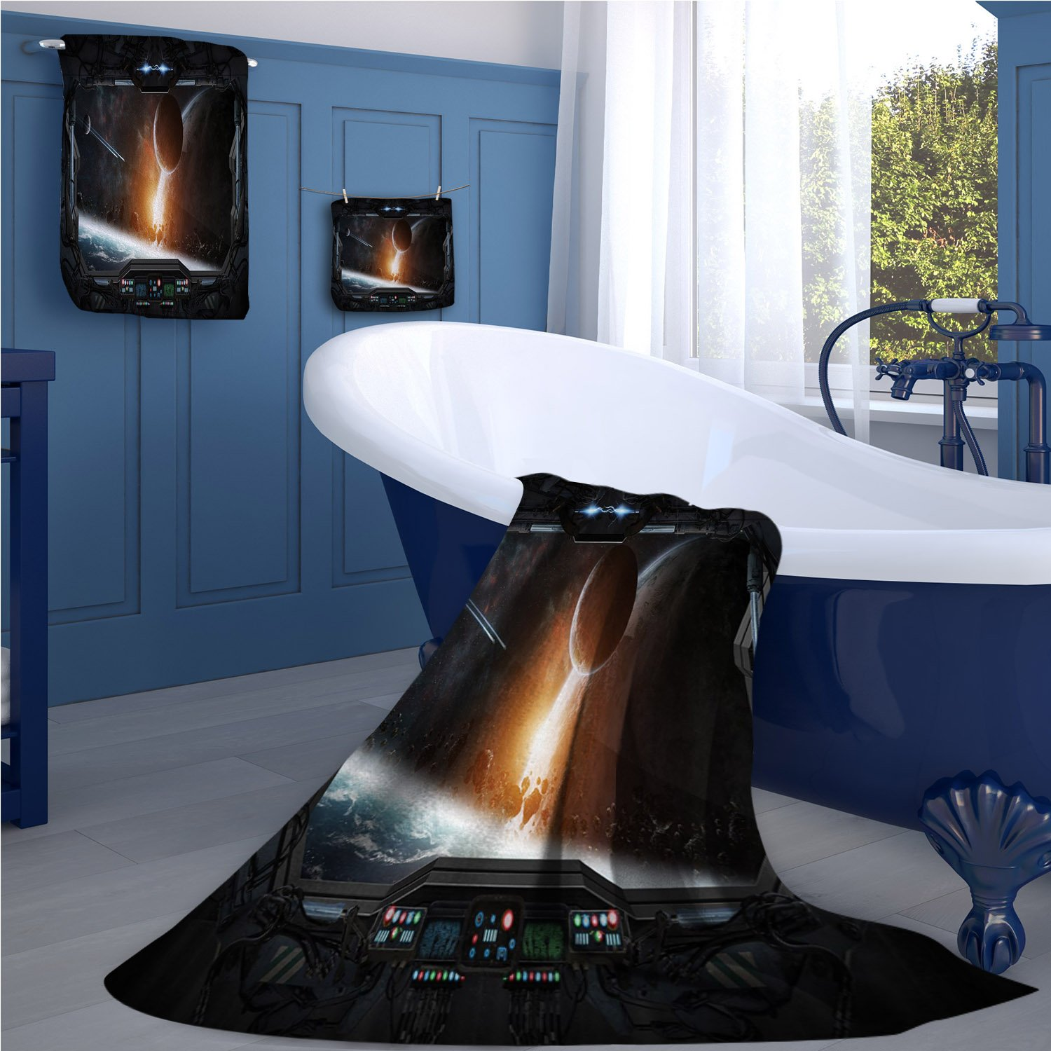 familytaste Outer Space Bath towel 707D digital printing set Scenery of Planets from the Window of a Shuttle Bodies Astronaut Space Station bathroom hand towels set Gray Orange