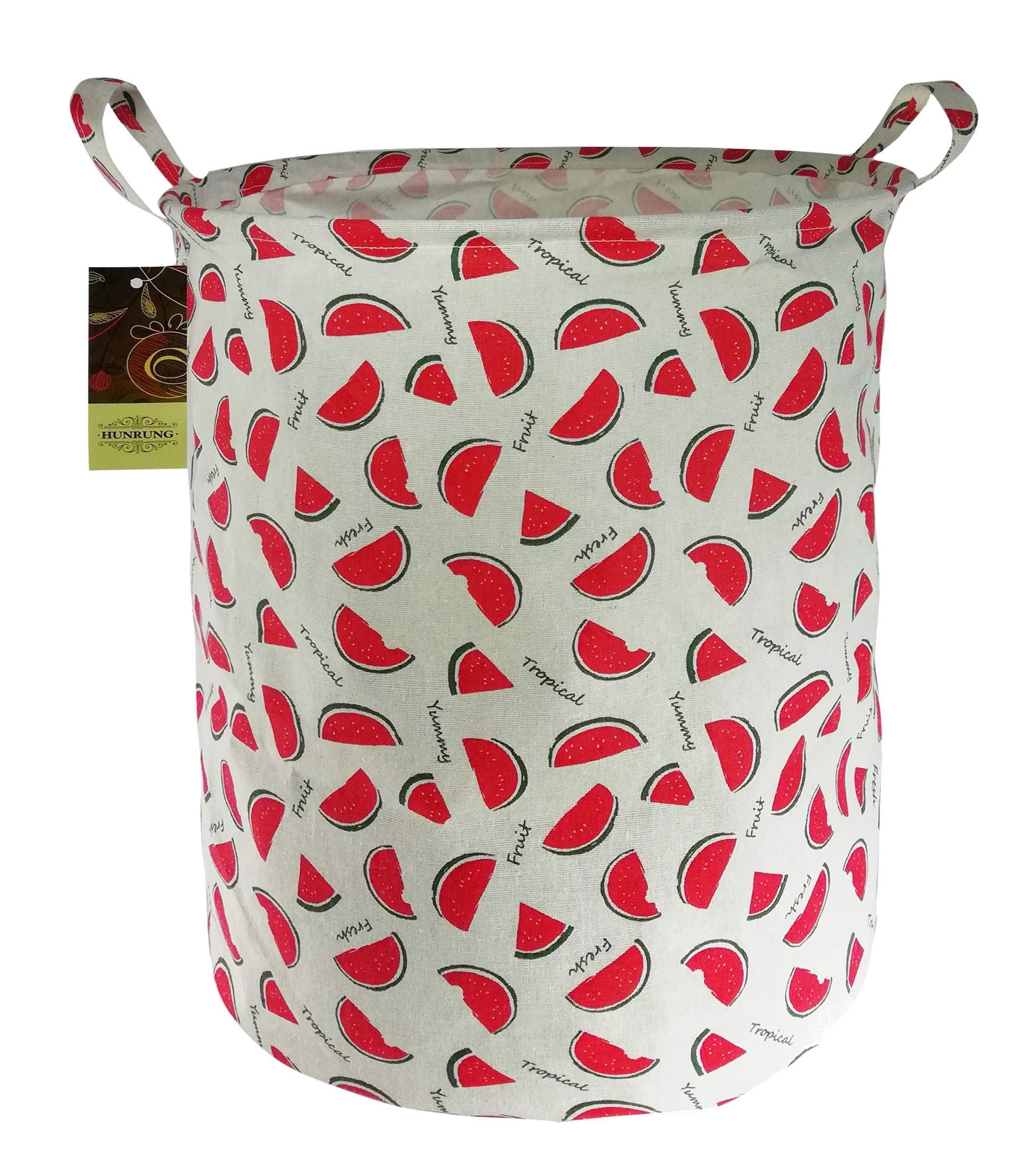 HUNRUNG Large Canvas Fabric Lightweight Storage Basket/Toy Organizer/Dirty clothes Collapsible Waterproof for College Dorms, Kids Bedroom,Bathroom,Laundry Hamper (watermelon)