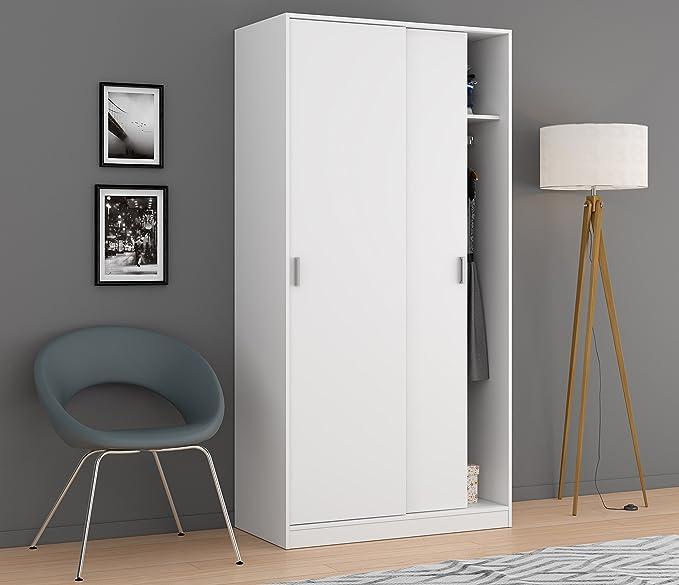Habitdesign MAX019O - Armario Dos Puertas correderas, Color Blanco Mate, Medidas: 100x200x50 cm de Fondo: Amazon.es: Hogar