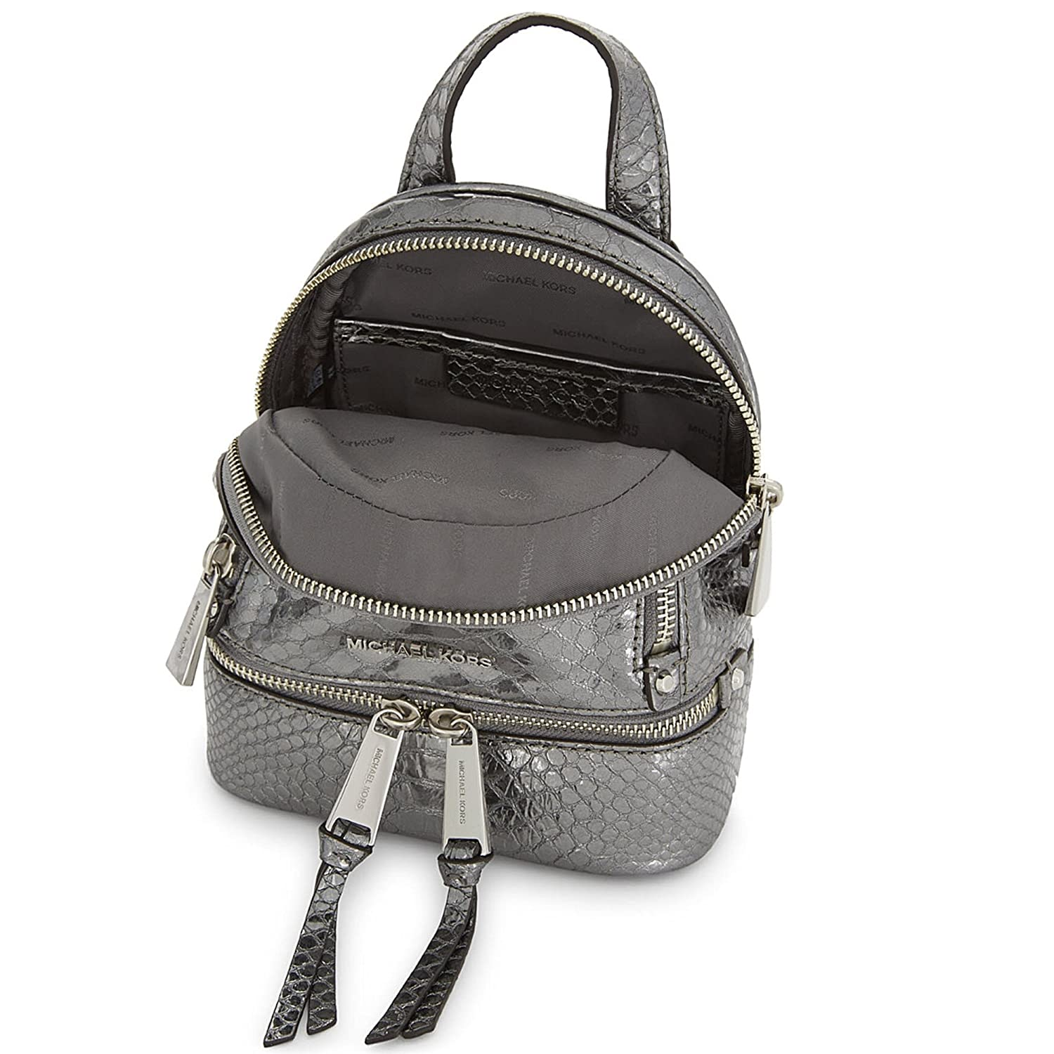 1183127c8b03 MICHAEL by Michael Kors Rhea Zip Extra Small Python Embossed Leather  Backpack one size Pewter: Amazon.co.uk: Shoes & Bags