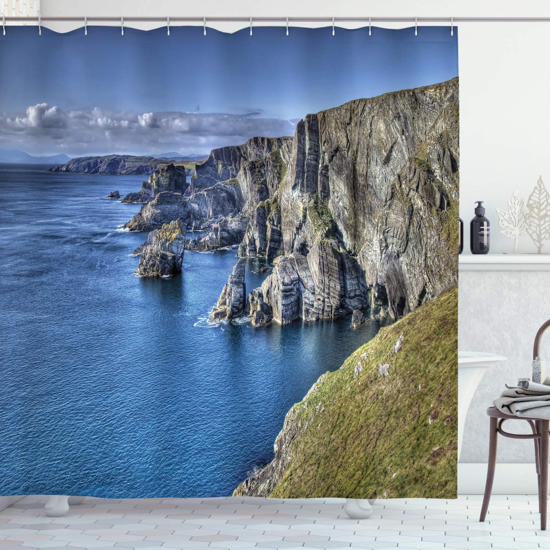 "Ambesonne Coastal Shower Curtain, Atlantic Coast Cliffs at Mizen Head County Cork Ireland Ocean Coastal Scenery, Cloth Fabric Bathroom Decor Set with Hooks, 70"" Long, Taupe Green"
