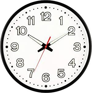 Fasmov 12 Inch Modern Night Light Wall Clock, Silent Non-Ticking Quartz Wall Clocks, Battery Operated, Easy to Read for Home Office School Decor Clock