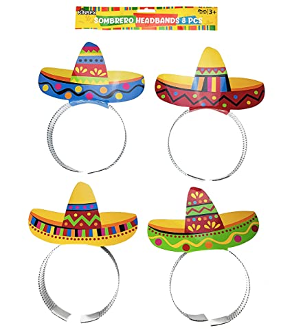 afb42b51775b4 Amazon.com  KINREX Cinco de Mayo Sombrero Headband - Mexican Fiesta Paper  Party Hat - 8 Pieces  Toys   Games