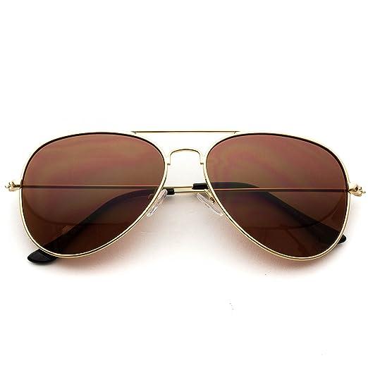 Amazon.com: Classic Aviator Style Metal Frame Sunglasses Colored ...