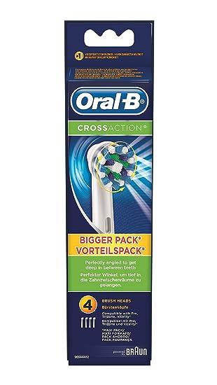 Oral-B CrossAction - Cabezal de recambio para cepillo eléctrico recargable, 4 unidades: Amazon.es: Salud y cuidado personal