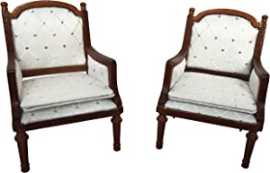 Inusitus Set of 2 Wooden Dollhouse Armchairs - Dinning Lounge Chairs - Dolls House Furniture - Dark Brown Walnut Finish - 1/12 Scale (Medium-Wood)