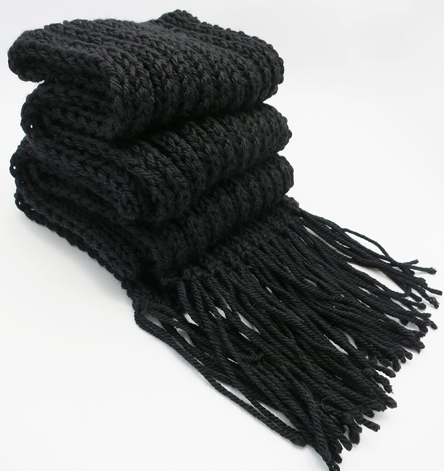 Elegant Black GIFT IDEA FOR MEN Handmade Softest Acrylic Ribbed Scarf