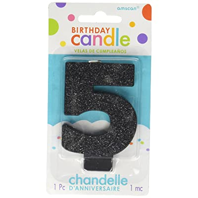 "amscan Birthday Celebration, Numeral #5 Glitter Candle, Party Supplies, Black, 3 1/4"": Kitchen & Dining"
