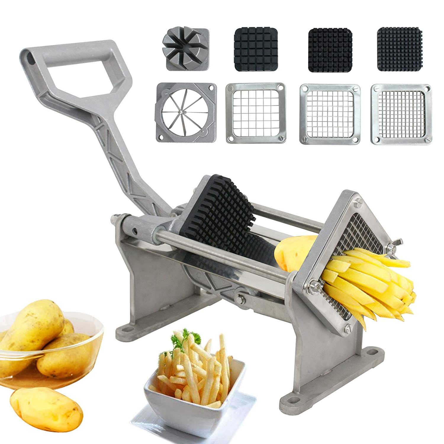 BBBUY Commercial Grade French Fry Cutter Fruit Vegetable Potato Slicer Chopper W/4 Different Size Blades