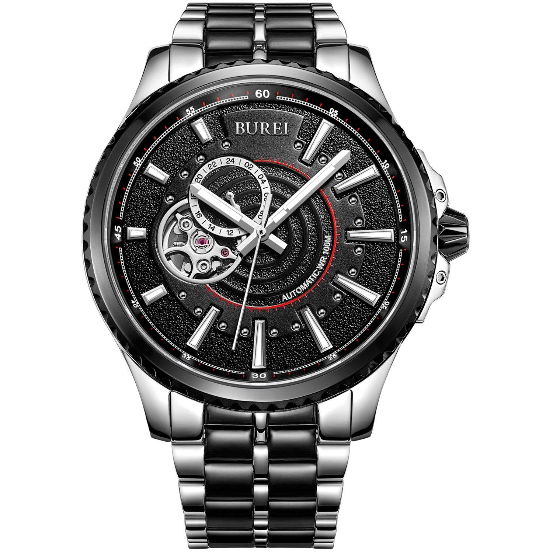 Burei Herren Skelett Automatik Uhren mit Tag Datum schwarz Zifferblatt echtes Leder Gurt