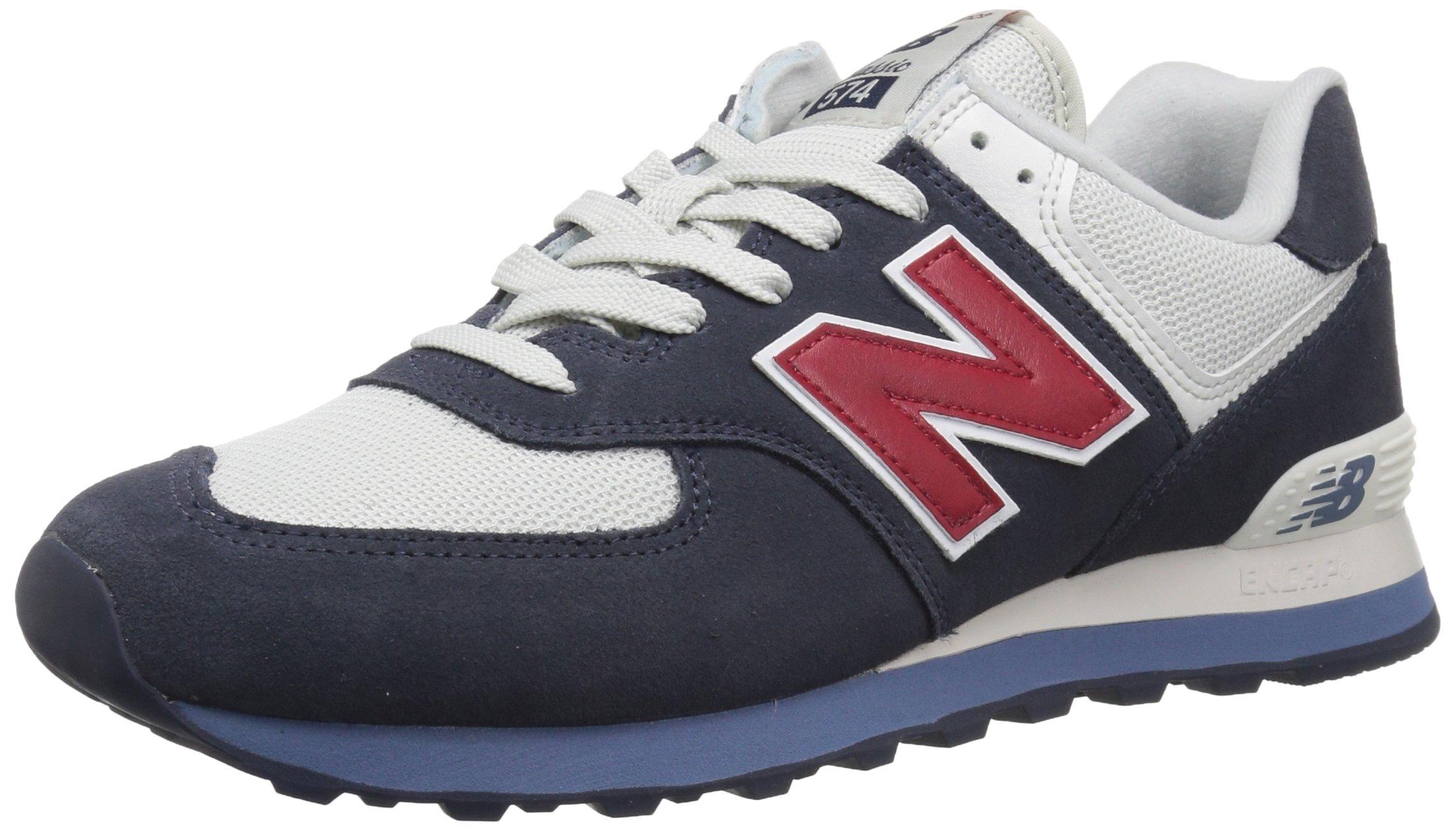 New Balance Men's 574S Sport Sneaker,Navy/Chili Pepper,10.5 D US
