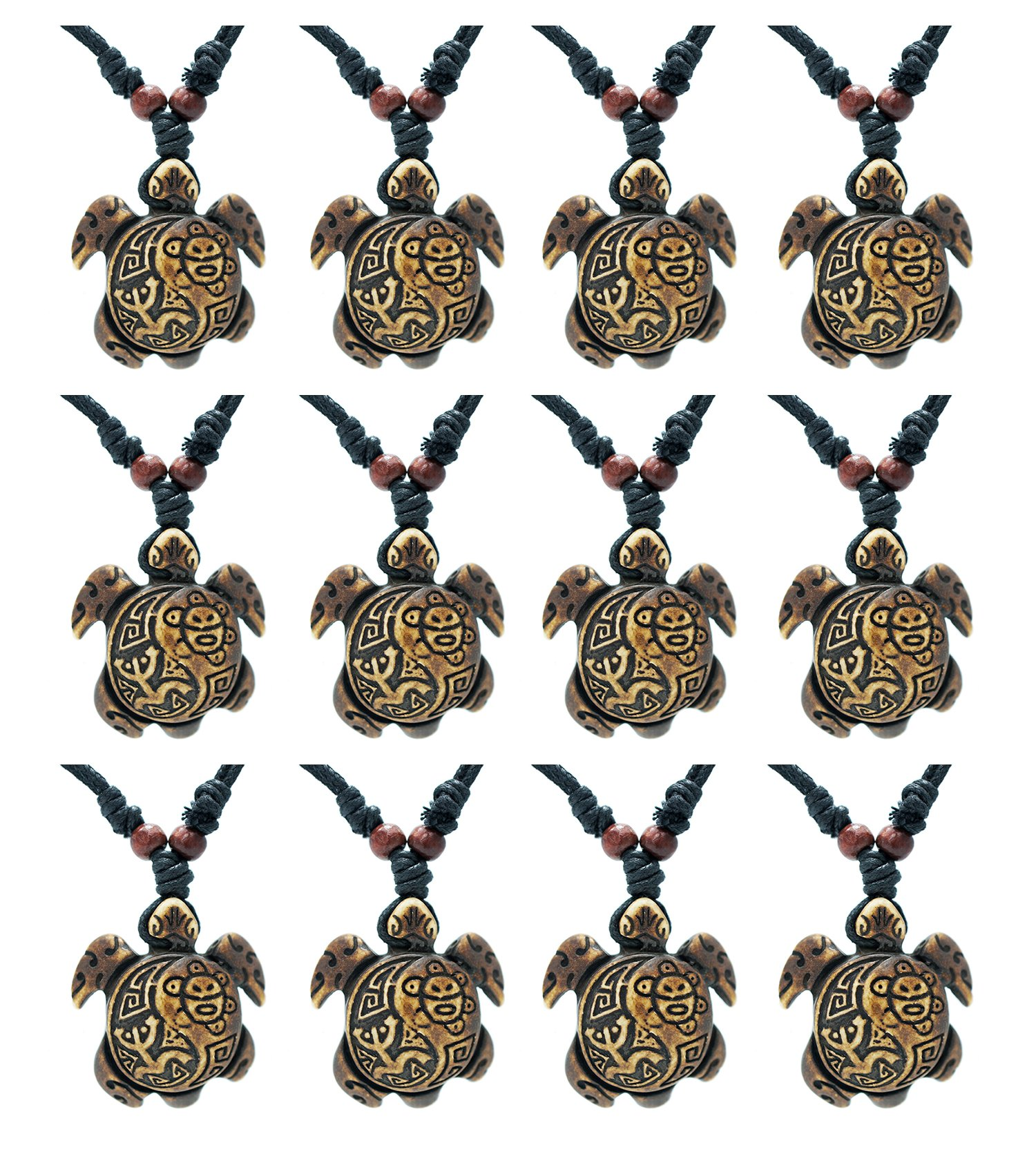 Exoticdream Turtle Necklace Yin Yang Coqui Taino Sun with Cotton Cord (Party Pack Brown 12X)