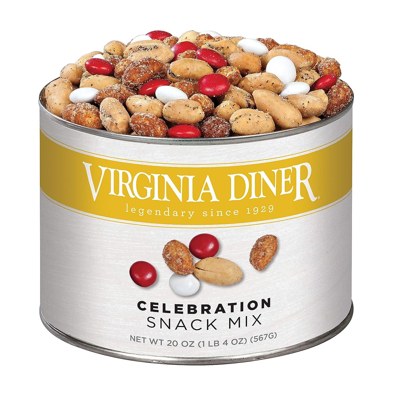 Virginia Diner - Gourmet Natural Celebration Mix (Virginia Sea Salt & Pepper Peanuts, Honey Roasted Peanuts, & Chocolate), 20 Ounce Tin