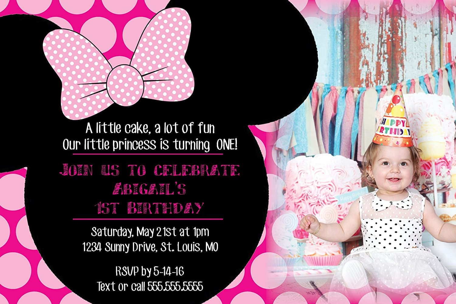 Amazon.com: Minnie Mouse Pink Birthday Party Invitations Invitation ...