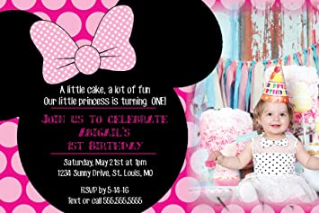 Amazon customized minnie mouse birthday party invitation customized minnie mouse birthday party invitation with photo option filmwisefo Images
