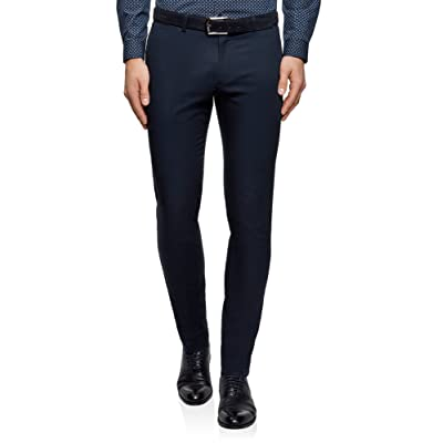 oodji Ultra Men's Pleated Slim-Fit Trousers at Men's Clothing store