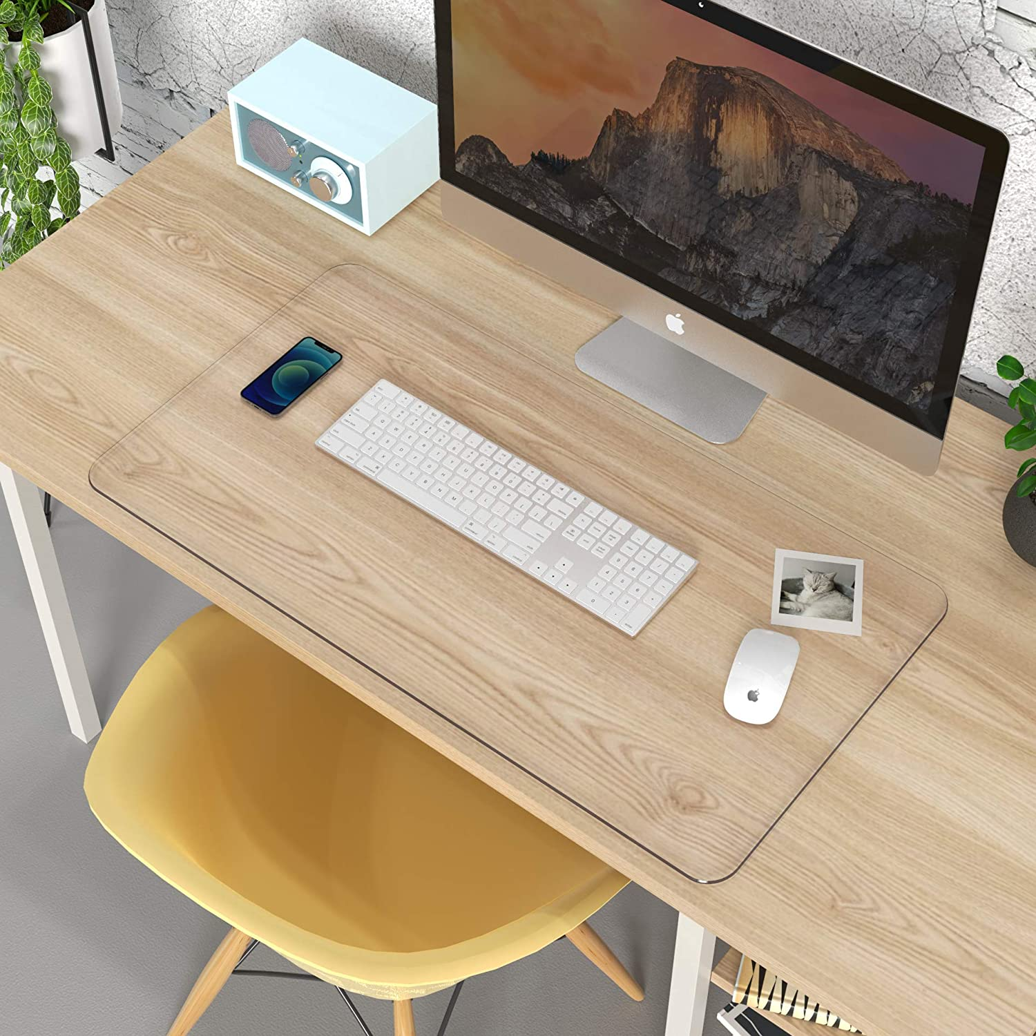 """Clear Writing Desk Pad, Heat Resistant Waterproof PVC Round Edge Durable Desk Protect Mat, Anti-Static Writing Mat-31.5''x15.7"""" Table Protector : Office Products"""