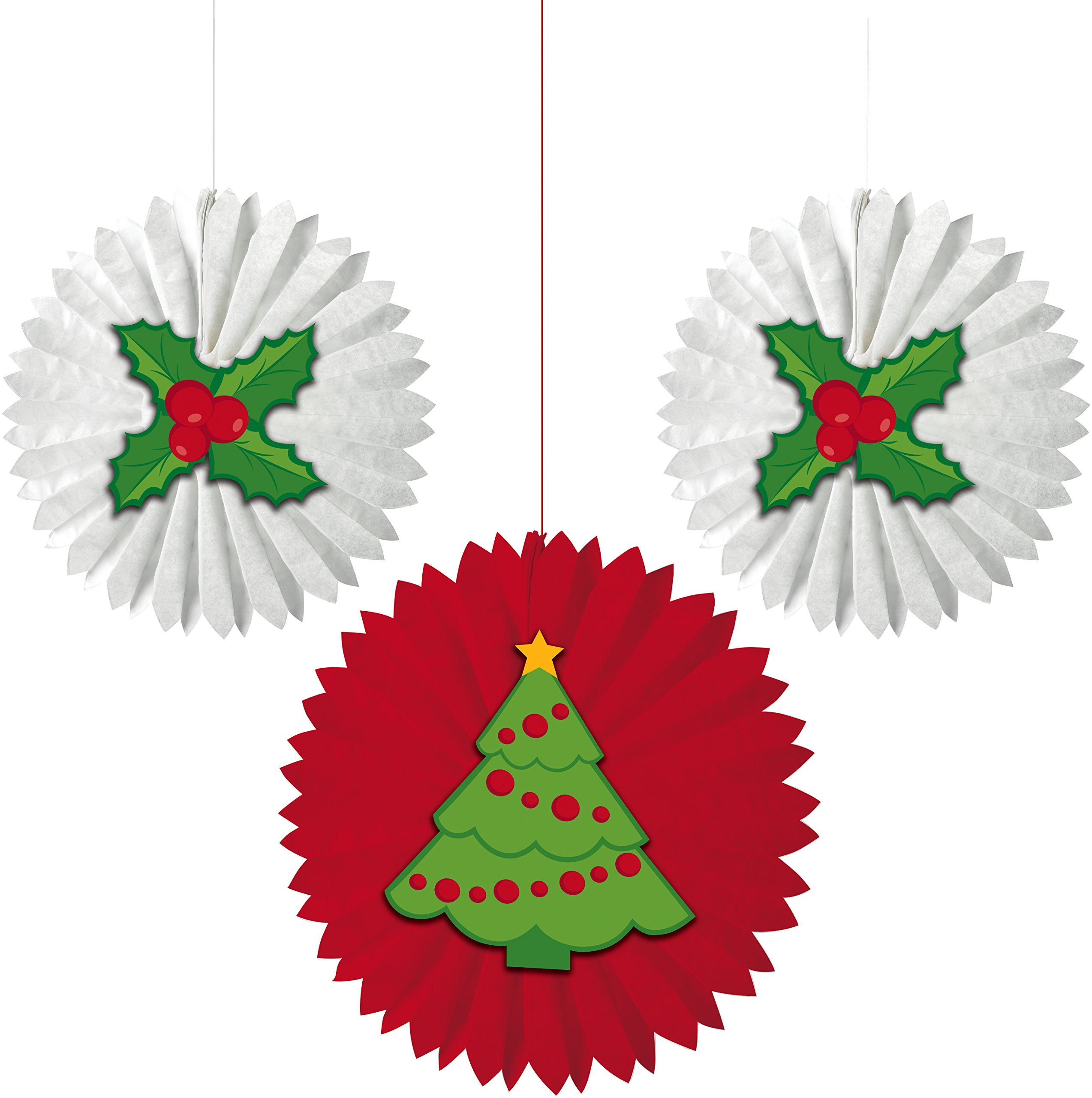 Creative Converting 3 Fans Christmas Tissue Fans with Attachments, Christmas Tree and Holly, Red/White/Green
