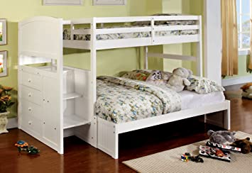 Amazon Com Furniture Of America Sammy Bunk Bed With 3 Drawers Twin