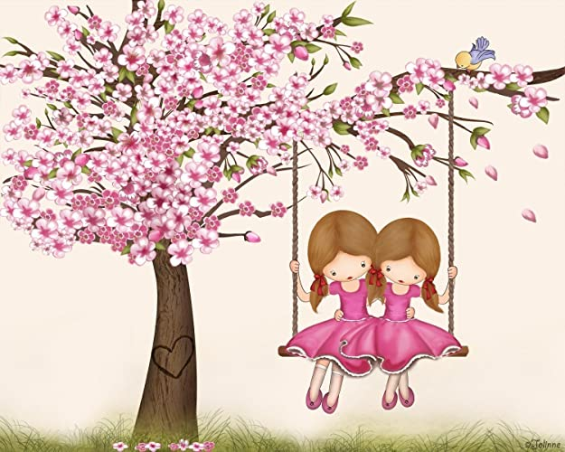 Amazon Com Cherry Blossom Twin Sisters Room Wall Art Kids Bedroom