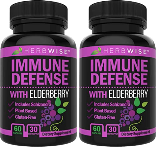 Immune Defense – Elderberry Immune System Booster Support Supplement Wellness Formula for Natural Healthy, Stress Relief, Immunity Support, 2-Pack, 120 Veggie caps