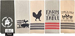 Farmhouse Kitchen Towels Farm Towels Pig Rooster Chicken Cow Towels Black Tan Towels Set of 5