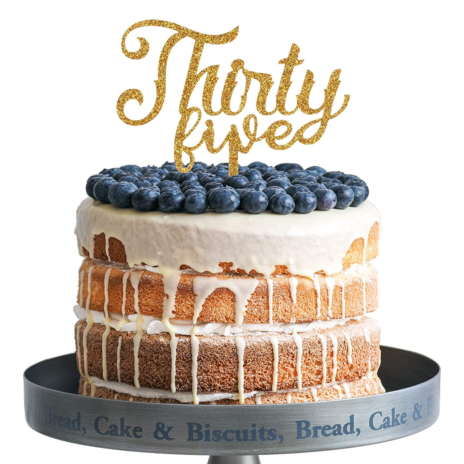 Amazon Thirty Five Happy Birthday Cake Topper Gold Acrylic 35 Years Old Party Decoration Gifts Health Personal Care