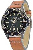 Sector No Limits - R3251161014 - 235 - Pendule Homme - Quartz Analogique - Cadran Noir - Bracelet Cuir Beige